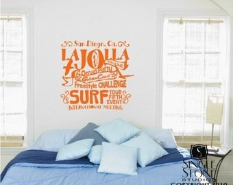 Wall Decals Quote Surf Party - Vinyl Text Wall Word Collage Sticker