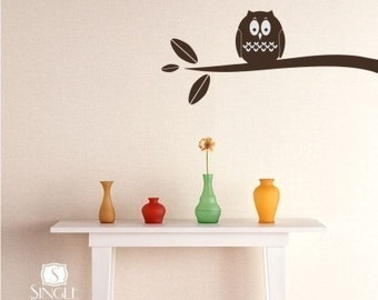 Owl on Branch Wall Decal - Vinyl Stickers Art