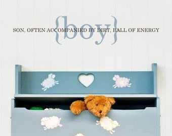 Wall Decal Boy Definition - Vinyl Wall Words Stickers Art Lettering