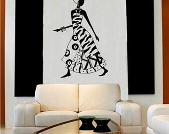 African Woman Wall Decal - Vinyl Art Sticker