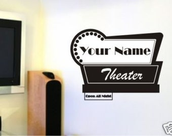 Movie Theater Sign Custom Wall Decals Personalized  (Horizontal)- Vinyl Stickers Art