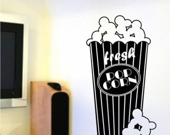Popcorn Wall Decal - Vinyl Wall Decal Words Stickers Art Graphics