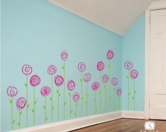 Flower Wall Decals Doodle Flower Garden  - Vinyl Nursery Wall Stickers Art