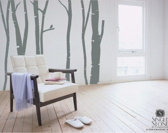 Birch Trees Wall Decal Set  - Tree Wall Sticker Art
