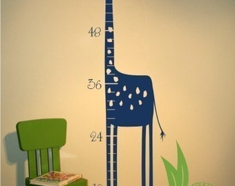 Giraffe Growth Chart Wall Decal - Nursery Vinyl Sticker Art