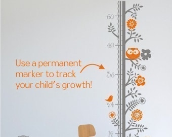 Growth Chart Wall Decal Woodland Animals - Vinyl Wall Art