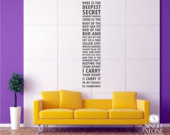 I Carry Your Heart Wall Decal Quote Text ee cummings - Subway Art Wall Words