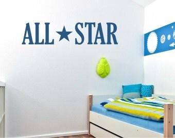 All Star Wall Decal - Vinyl Wall Text Sticker Art