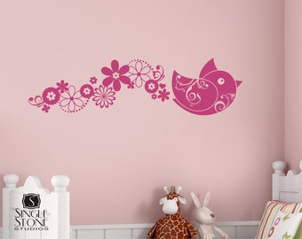 Wall Decals Bird Leave a Trail of Happiness -  Nursery Vinyl Wall Stickers Art Graphics