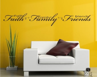 Wall Decals Faith Family Friends - Vinyl Text Wall Word Collage Sticker Art