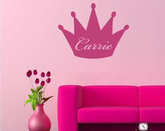 Princess Crown Wall Decal - Personalized Vinyl Wall  Sticker Transfer