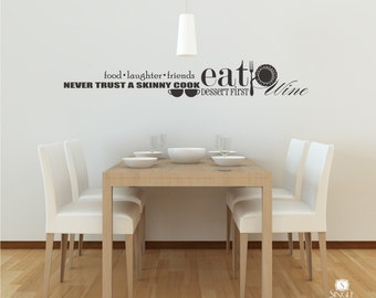 Food and Wine Wall Decal Collage - Vinyl Text Wall Word  Sticker