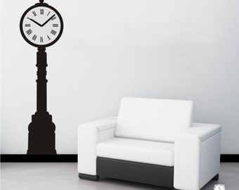 Clock Wall Decal Tall Iron - Vinyl Wall Stickers Art Graphics