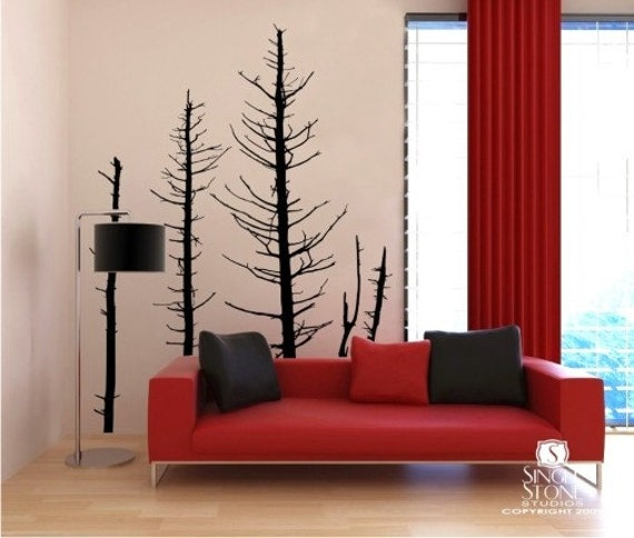 Bare Pine Trees in Winter - Vinyl Wall Decal Graphic Art