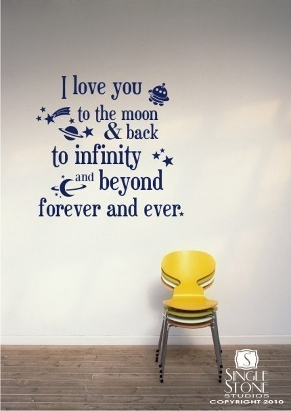 To the Moon and Back - Vinyl Text Wall Decals Sticker