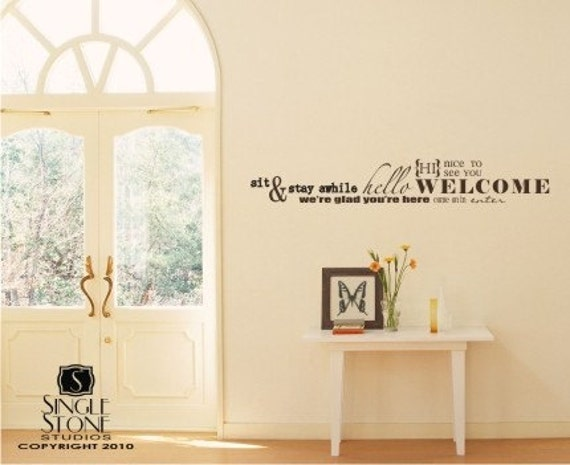 Items Similar To Wall Decal Quote Welcome Word Collage