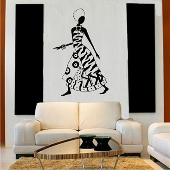 African Woman Wall Decal Vinyl Art Sticker By Singlestonestudios