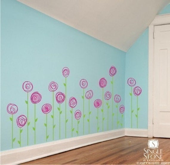 Nursery Flower Wall Decals Doodle Flower Garden Vinyl - Custom vinyl wall decals flowers