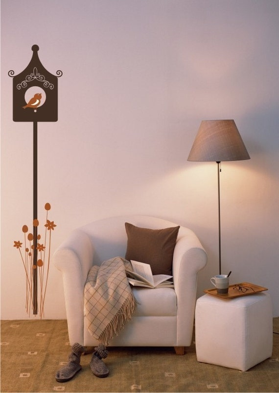 Birdhouse Wall Decal with Flowers - Vinyl Wall Stickers Art Graphics