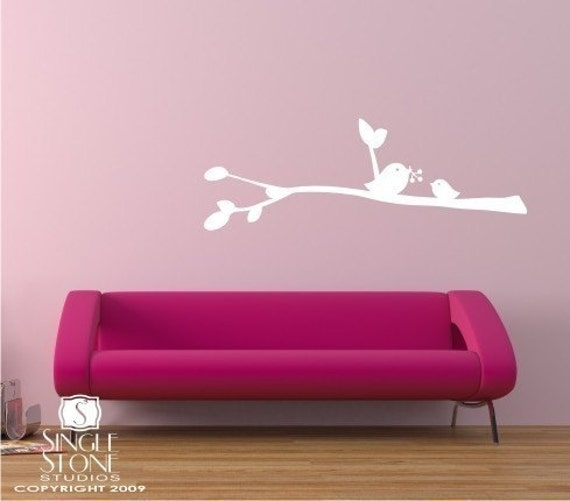 Birdies with Berries Wall Decal - Vinyl Wall Stickers Art