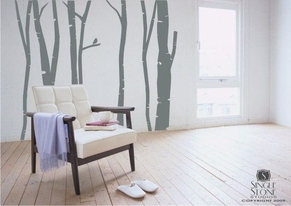 Birch Trees Wall Decal Set  - Tree Wall Sticker Art