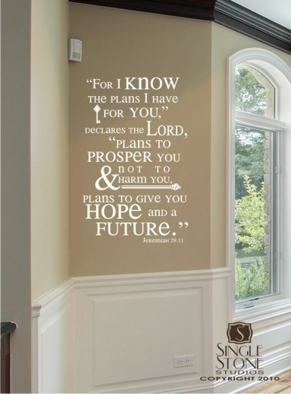 Bible Verse Wall Decals Jeremiah 29 11 By Singlestonestudios
