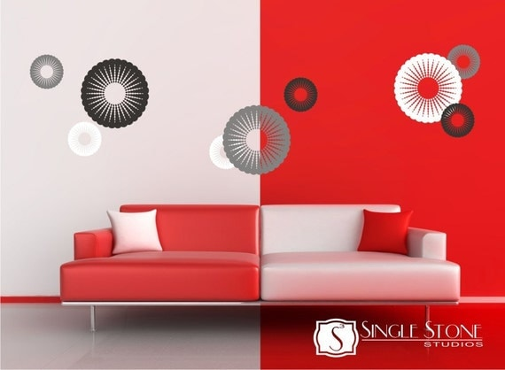 Walll Decals Funky Circles - Vinyl Wall Stickers Art Graphics
