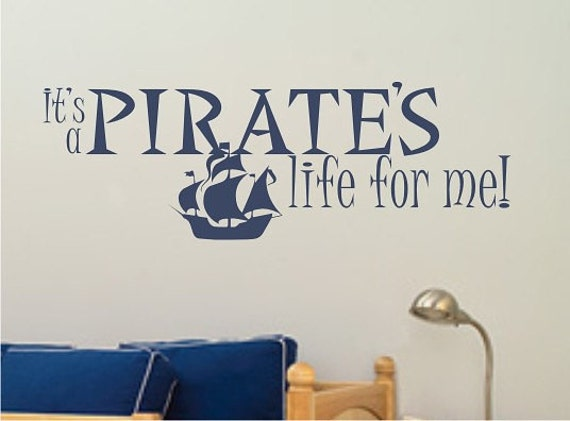 Etsy Pirate Wall Decals : Pirates Life For Me Wall Decal   Vinyl Sticker  Nursery Decor