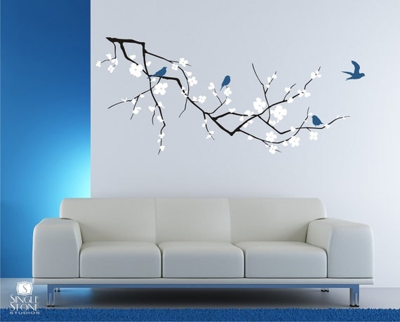 Cherry blossom tree branch wall decal with birds vinyl wall for Cherry tree wall mural