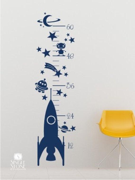 Nursery Rocket Growth Chart Wall Decal Vinyl Wall Art Custom
