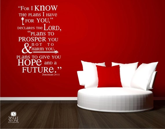 Wall Decor With Bible Verses : Bible verse wall decals jeremiah vinyl stickers