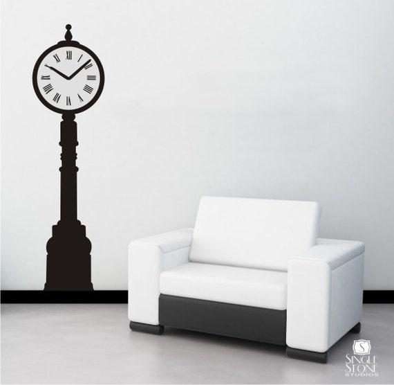 Wall Art Decals Clock : Clock wall decal tall iron vinyl by singlestonestudios