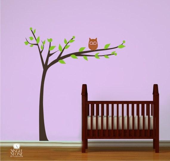 Nursery Tree Wall Decal Modern  With Owl - Vinyl Wall Stickers