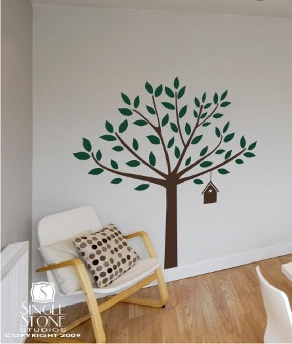 Tree Wall Decal with Birdhouse -  Vinyl Stickers Art
