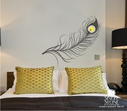 peacock feather wall decal vinyl art stickers custom home. Black Bedroom Furniture Sets. Home Design Ideas