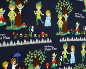 One Yard Japanese Cotton Flannel Fabric Peter Pan Navy Background