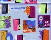 Half Yard Japanese Cotton Fabric Monsters Inc Disney Pixar Window Door Blue
