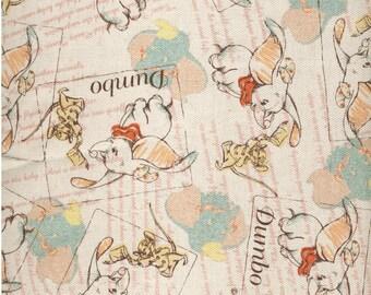 46cm Japanese Cotton Linen Blend Fabric Canvas Dumbo Natural Background