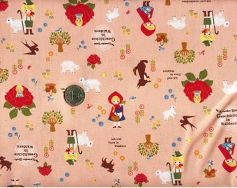 Half Yard Japanese Cotton Fabric Kokka Push Pin November Books Geschichte in Waldern Pink or Beige