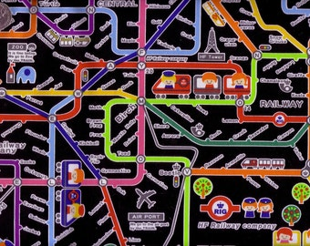 Half Yard Japanese Cotton Fabric Push Pin Kokka Hello My Friend Train Station Map 2 colors to choose