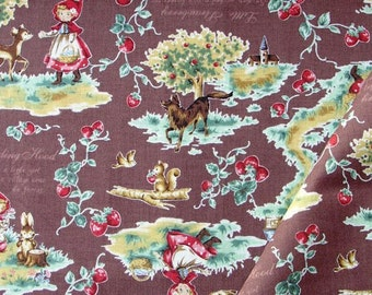 Half Yard Japanese Cotton Fabric Lecien Red Riding Hood Strawberries 3 colors to choose