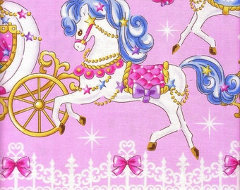 1.2 Yards Japanese Cotton Fabric Lolita Harajuku Magical Carousel Pony Merry Go Round Carriage Castle Border Pink