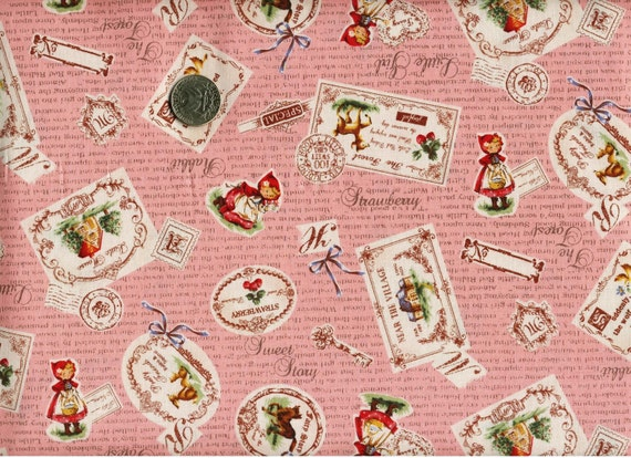 Last One Yard Japanese Cotton Fabric Lecien Red Riding Hood Label Pink
