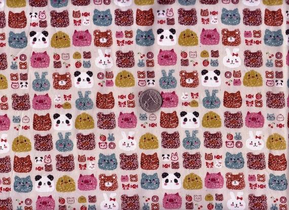 Half Yard Japanese Fabric Cotton Animal Faces Crayon Cat Bear Rabbit Natural