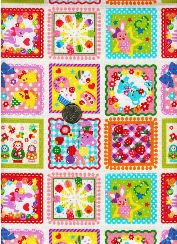 HALF YARD Japanese Cotton Fabric Border Patch Squares Retro Animals Bambi Sweets Matryoshka Pink
