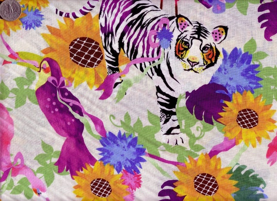 One Yard Japanese Cotton Fabric White Tiger Forest Colorful Flamingo White