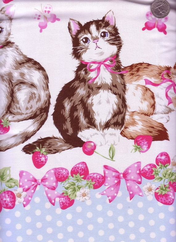 Two Yards Japanese Cotton Fabric Tokyo It Girl Homecraft Big Cat Berry Border Blue