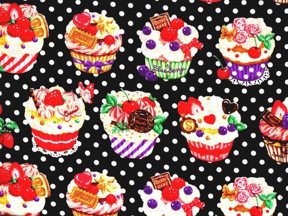 3 Yards Japanese Cotton Fabric Cosmo Textile Sweet Labyrinth Cupcakes Polka Dots Black