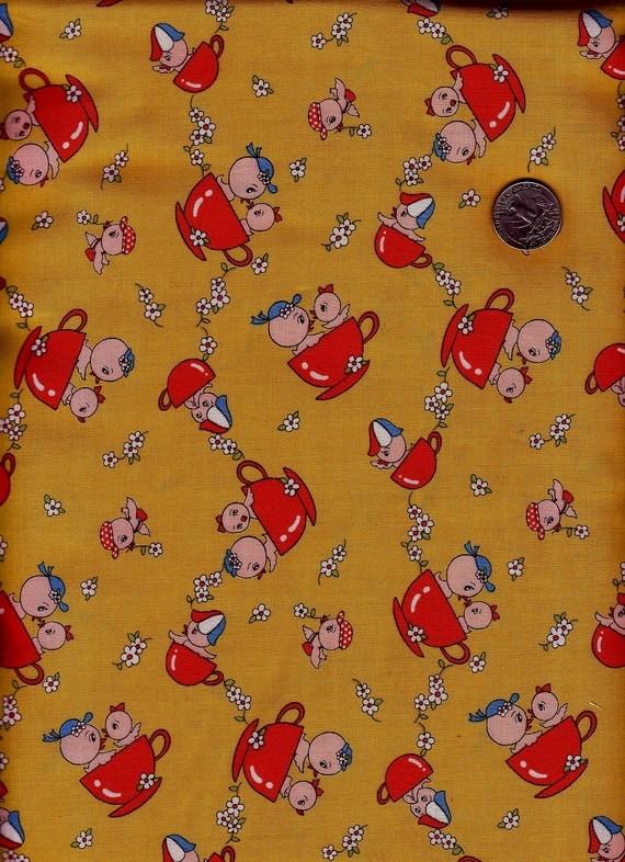 Half Yard Japanese Cotton Fabric Retro Birds Cup Yellow