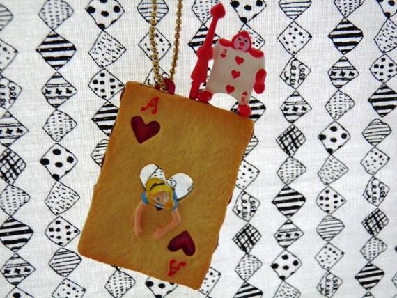 Plastic Charm Keychain Alice Wonderland Card Soldier